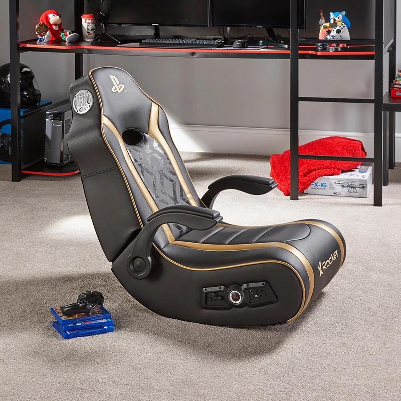 X Rocker PlayStation Gold 2.1 Floor Rocker Junior Gaming Chair for PS4 image