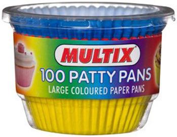 Multix Large Coloured Patty Pans 100 Pack