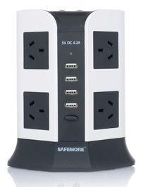 Safemore 2 Level VPS Euro + 8 Socket Power Board with 4 USB Charging (White/Black)