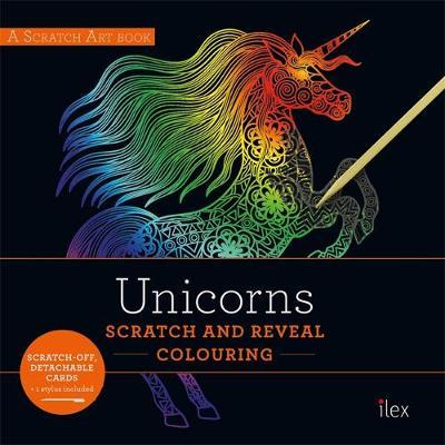 UNICORNS: Scratch and Reveal Colouring image