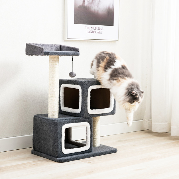 Cat Tree (3 Levels) With 2 Snuggle Cubes 1.65M - Charcoal / White