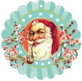 Papaya: Glitter Gift Tag - Santa with Pipe (6pk)