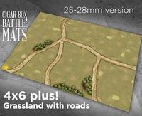 Cigar Box Battle Mats: Grasslands with Roads (28mm)