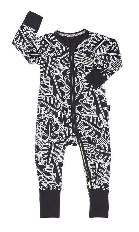 Bonds Zip Wondersuit Long Sleeve - Leaf (6-12 Months)