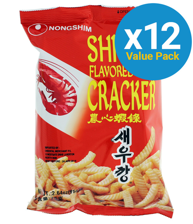 Nong Shim Shrimp Flavoured Crackers 75g (12 Pack)