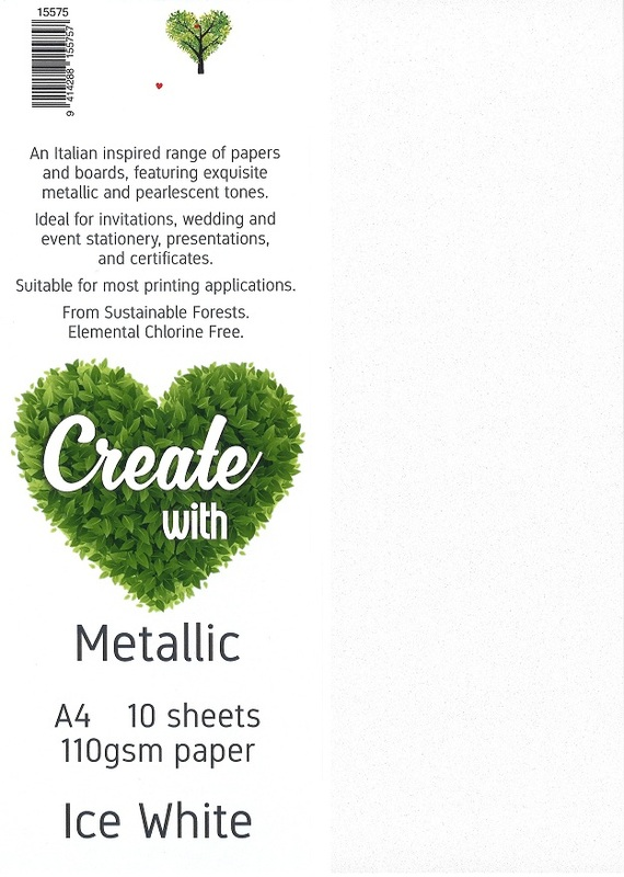 Metallic Paper A4 110gsm - Ice White (10 Pack)