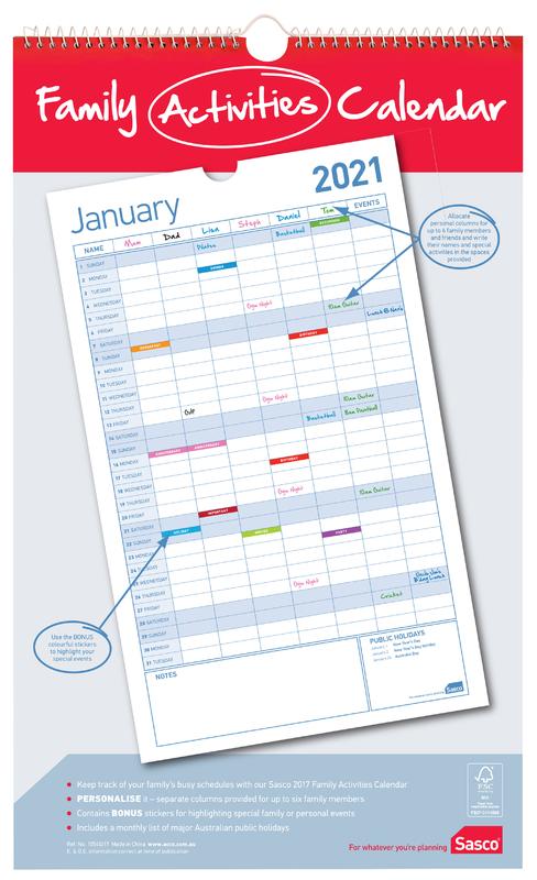 Sasco: 2021 Family Planning Calendar