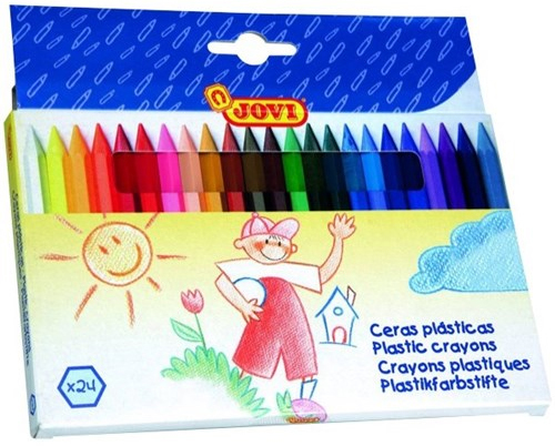 Jovi Plastic Crayons - Assorted Colours (24 Pack)