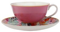Maxwell & Williams Cashmere Bloems Tea Cup & Saucer - Pink/Blue (200ml)