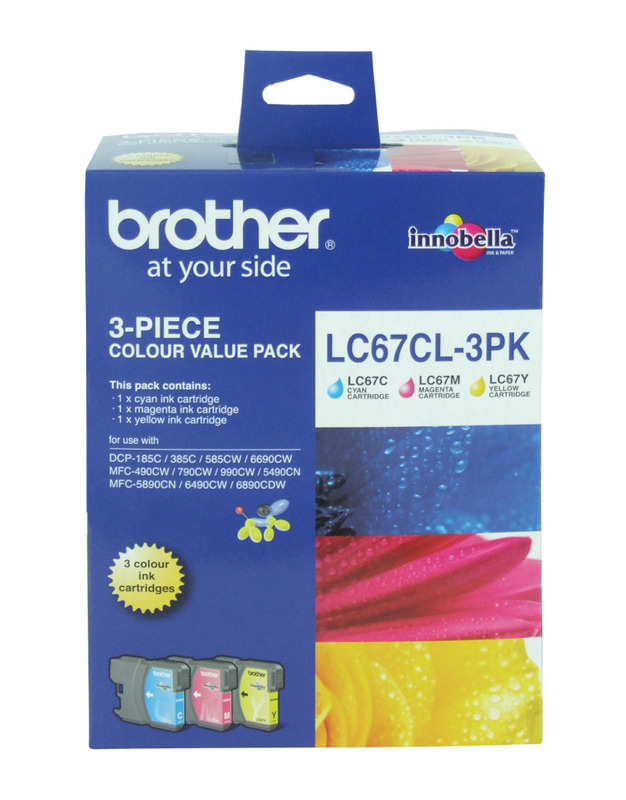 Brother LC-67CL3PK CMY Colour Ink Cartridges (Triple Pack)