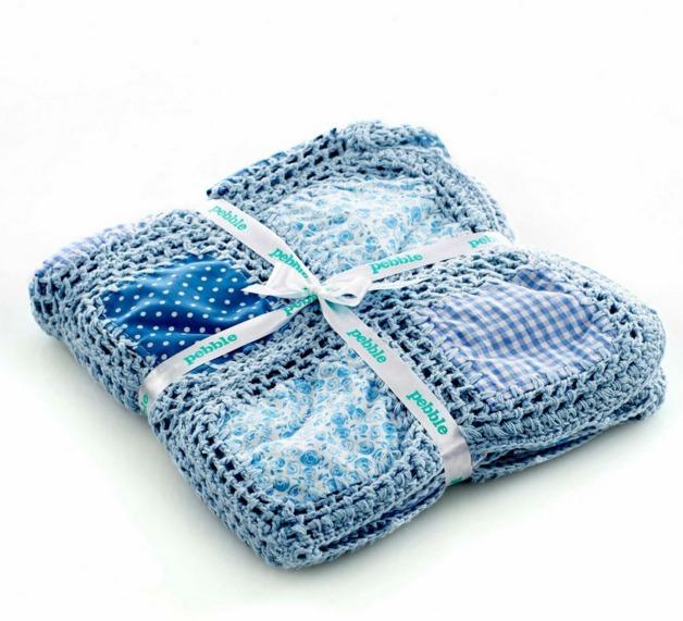 Pebble: Crochet Patchwork Blanket - Blue