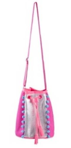 Pink Poppy: Pom Pom Party - Drawstring Satchel (Hot Pink) image