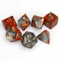 Chessex Polyhedral Dice Set: Orange Steel & Gold image