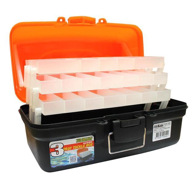 Pro Hunter Three Tray Tackle Box - Red/Orange