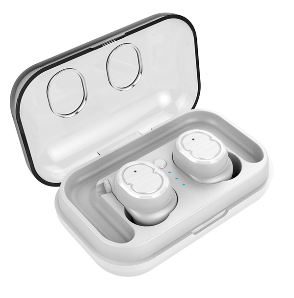 Wireless Stereo Sport Earphones - With Charging Box (White)