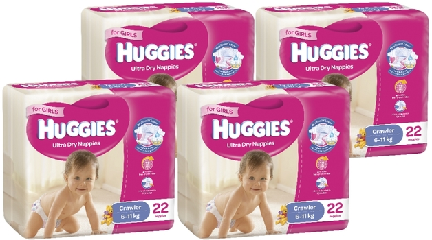 Huggies Ultra Dry Nappies Convenience Value Box - Size 3 Crawler Girl (88)