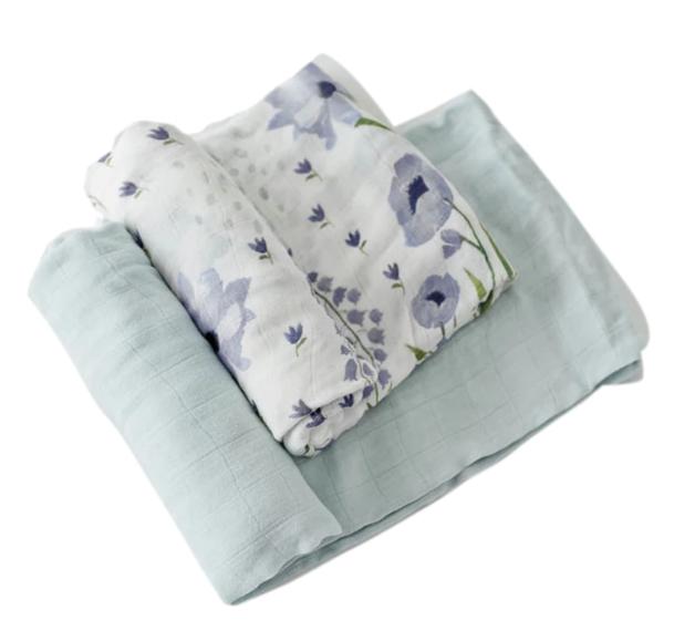 Little Unicorn: Deluxe Muslin Swaddle - Blue Windflower (2 Pack)