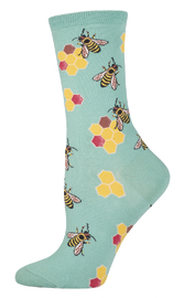 Women's Busy Bees Crew Socks - Seafoam