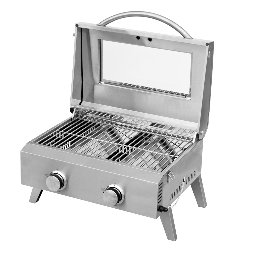 Kiwi Sizzler Two burner BBQ with window and stainless steel grill image