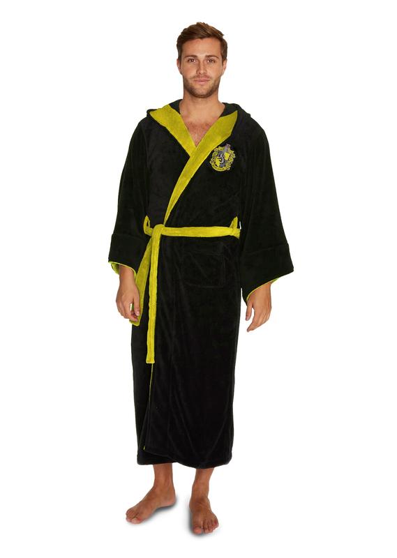 Harry Potter: Hufflepuff Fleece Bathrobe - Black & Yellow Men's (One Size)