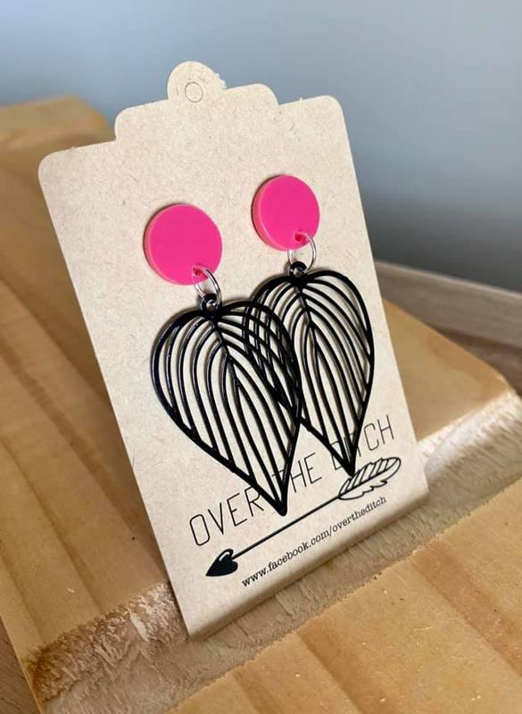 Over the Ditch: Leaf Dangle Earrings - Hot Pink/Black