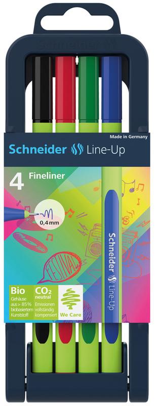 Schneider: Fineliner Line-Up 0.4mm - Asst. Pencil Case Stand (4 pcs)