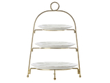 Maxwell & Williams Blush 3 Tier Gold Display Stand with Set of 3 Plates - White