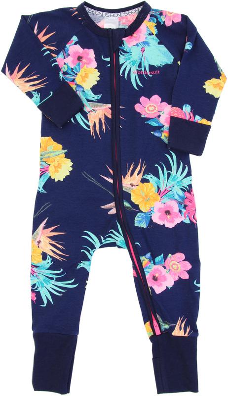 Bonds Zip Wondersuit Long Sleeve - Coolangatta Kids Deep Arctic - 6-12 Months