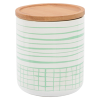 Marlo Canister with Wood Lid - Check Me Mint (Medium)
