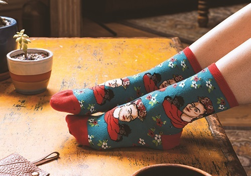 Socksmith: Womens Kahlo Portrait Crew Socks - Peacock image