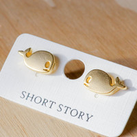 Short Story: Funky Play Earrings - Gold Whale