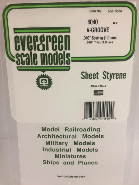 Evergreen Styrene V-Groove 15X29cm X1 mm Sp1 mm