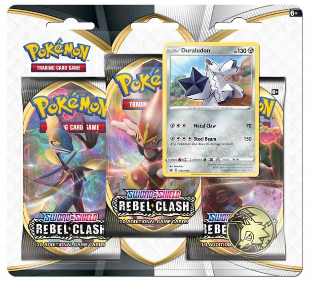 Pokemon TCG: Sword and Shield Rebel Clash Three Booster Blister- Duraludon