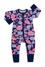 Bonds Zip Wondersuit Long Sleeve - Midnight Floral (3-6 Months)