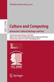 Culture and Computing. Interactive Cultural Heritage and Arts