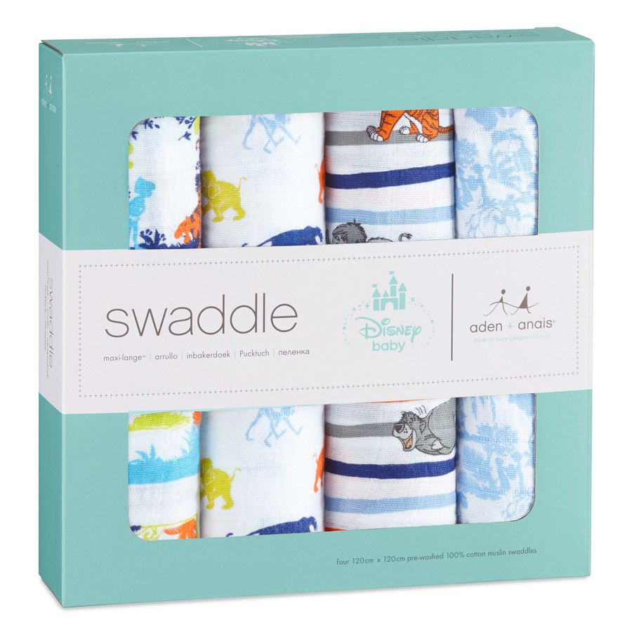 35aace9a2c27 Aden + Anais  Disney Baby Swaddle - The Jungle Book (4 Pack Swaddling Wraps  ...
