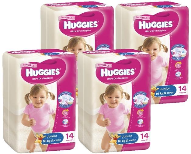 Huggies Ultra Dry Nappies Convenience Shipper: Junior Girl 16+kg (56)
