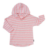 Bonds Salt & Pepper Hoodie T-Shirt - Stripe Neo Heart (12-18 Months)