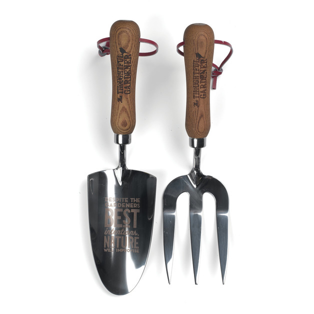 Thoughtful Gardener: Hand Trowel & Fork - Wood