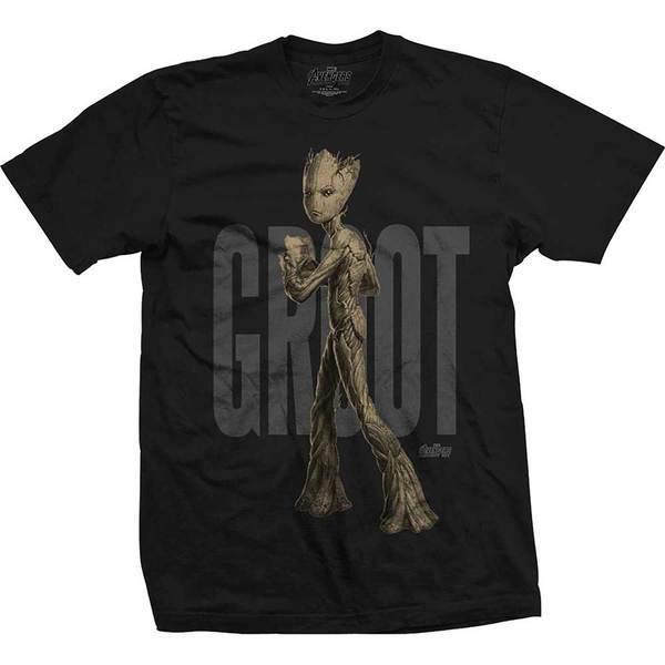 Avengers Infinity War Teen Groot Text Mens Black TS: XL image