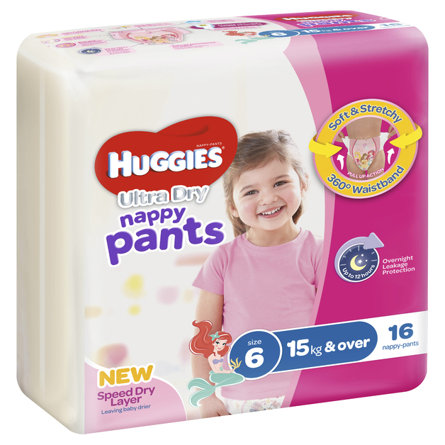 Huggies Ultra Dry Nappy Pants - Size 6 Junior Girl (16)