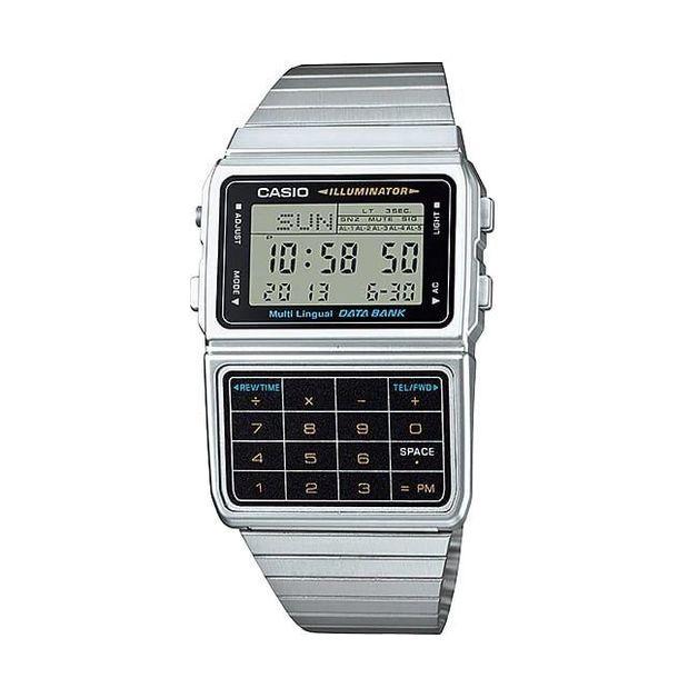 Casio Digital Stainless Steel Data Bank Multi-Lingual Mens Watch