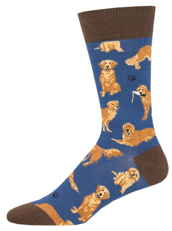 Socksmith: Mens Golden Retrievers - Blue