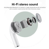 TWS Mini Bluetooth 5.0 Earphone Wireless Earbuds with Noise-cancelling Gen 3 - White