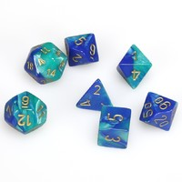 Chessex Polyhedral Dice Set: Blue-Teal & Gold