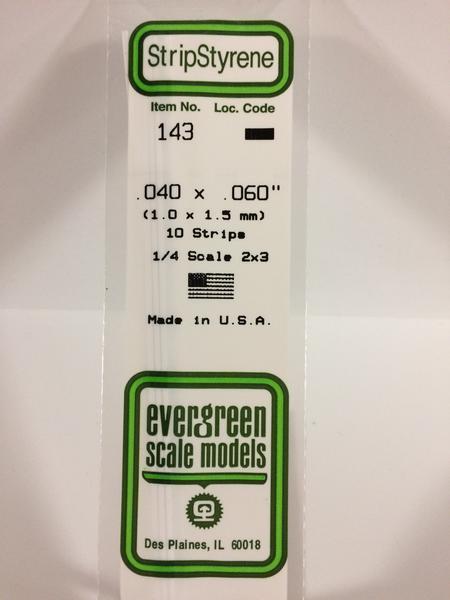 Evergreen Styrene Stripstyrene White 1X1.5 mm (10)