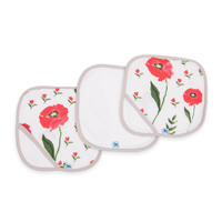 Little Unicorn - Cotton Wash Cloth - Summer Poppy (3 Pack)