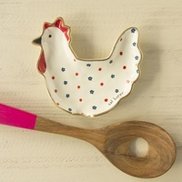 Natural Life: Ceramic Spoon Rest - Chicken Eat Happy