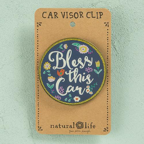 Natural Life: Visor Clip - Round Bless This Car