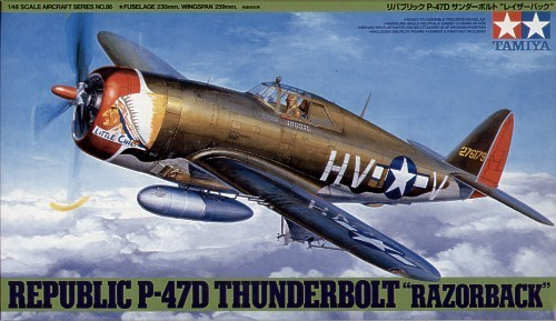 "Tamiya U.S. Republic P-47D Thunderbolt ""Razorback"" 1/48 Aircraft Model Kit"